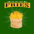 French Fries, unhealthy fast food snack potato isolated vector illustration