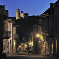 French historic town at twilight Royalty Free Stock Photo