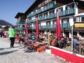 French holiday skiers relax at an outdoor restaurant les gets france mar during the annual winter school on mar in avoriaz Stock Photography