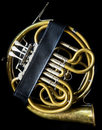 French horn in the case golden without a bell and mouthpiece Stock Images