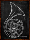 French horn drawing on blackboard music bakcground Stock Images