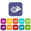French horn icons set Royalty Free Stock Photo