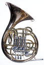 French Horn Isolated Against White Royalty Free Stock Image
