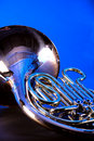 French Horn Isolated on Blue Royalty Free Stock Photography