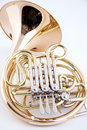 French Horn Isolated on White Royalty Free Stock Photos