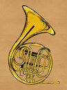 French horn painting image music background Royalty Free Stock Photography