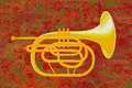 French Horn on Red Stock Image