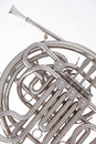 French horn Silver Isolated on White Royalty Free Stock Photo