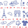 French icon symbol seamless pattern blue red Stock Photography