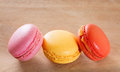 French macarons on a wooden background Stock Photography