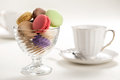 French macaroons in glass bowl Royalty Free Stock Photography