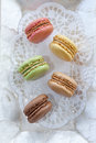 French macaroons on a mother of pearl tray Stock Image