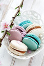 French macaroons pink turquoise white Stock Images