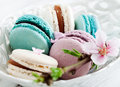 French macaroons pink turquoise white Royalty Free Stock Photography