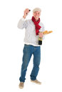 French man with bread and wine typical isolated over white background Royalty Free Stock Photo