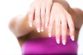 French manicure woman hands with Royalty Free Stock Image