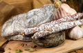 French meat with cheeses on wood wooden table Royalty Free Stock Image