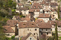 French medieval cliffside village quaintly built stone homes of saint cirq lapopie voted one of the most beautiful villages of Royalty Free Stock Photography