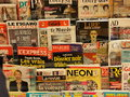 French news stand a lot of magazines in a Royalty Free Stock Photo