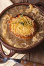 French onion soup with croutons and cheese top view Royalty Free Stock Photo
