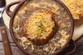 French onion soup with croutons macro horizontal Royalty Free Stock Photo