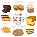 French pastries collection. Brioche, macaroons, croissants, herb bread, eclairs, paris brest, ganache, mille feuille cakes.