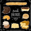 French pastries collection on chalkboard.