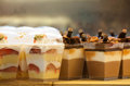 French pastries on display a confectionery shop Royalty Free Stock Image
