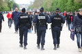 French police control the street for nice rest lacals and tourist paris april france Royalty Free Stock Photography