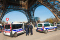 French police guarding notre dame in paris after charlie hebdo terrorist attack Royalty Free Stock Photos