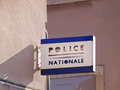 French police sign on the city wall Stock Photo