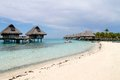 French polynesia beachview borabora island france house over water Royalty Free Stock Photos