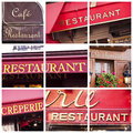 French restaurant signs collection of collage Royalty Free Stock Images