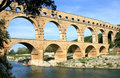 French roman aqueduct named Pont du Gard Royalty Free Stock Photo