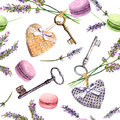 French rural background - lavender flowers, macaroon cakes, vintage keys, textile hearts. Seamless pattern. Watercolor