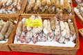 French sausages food with cognac and pheasant meat, street market, Amsterdam Royalty Free Stock Photo