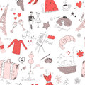 French seamless colorful objects pattern Stock Image