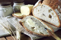 French sourdough bread and butter Royalty Free Stock Photo