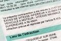 French speeding ticket Royalty Free Stock Photo