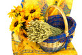 French still life with sun flowers Royalty Free Stock Images
