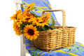 French still life with sun flowers Stock Photo
