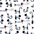 French style animals seamless pattern. Cute cartoon parisian dachshund, cat and scottish terrier vector illustration. Royalty Free Stock Photo