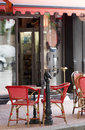 French style cafe with red shelter Royalty Free Stock Photo