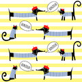 French style cats and dogs saying bonjour seamless pattern on striped background.