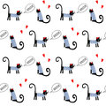 French style cats saying bonjour seamless pattern. Cute cartoon parisian kitty vector illustration.