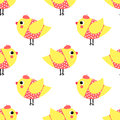 French style chicks seamless pattern on white background cute cartoon girls birds vector illustration dressed birdies Stock Images