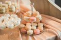 French sweet colorful macarons background, close up