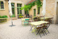 French terrace with green typical furniture Stock Photography