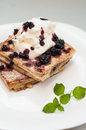 French toast with cream and fruits blueberry jam whip Stock Photos