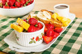 French toast with fruit and coffee strawberries pineapple bananas Stock Photography